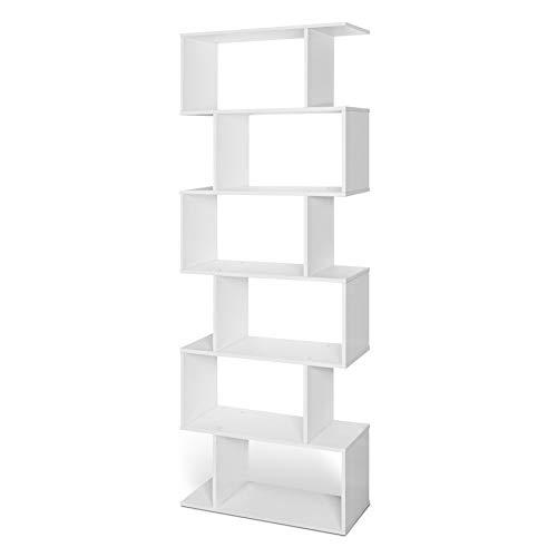 Lillyvale Wood Bookcase Bookshelf S Shape 6 Tier Shelves Free Standing Shelving Storage Display Unit Organizer for Living Room Black White (White)