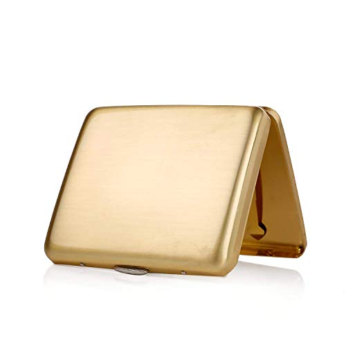 Zigarettenetui Metall Zigarettenschachtel für 20 Zigaretten, antik Zigarettenetui mit Gravur elegantem Aussehen und besonderem Qualitäten (Gold)