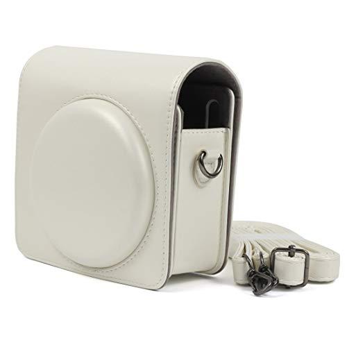 Chejhua con Correa de Hombro Ajustable (Negro), la Caja del Interruptor Lustre PU Bolsa de Cuero for FUJIFILM instax Square cámara SQ6 Estuche para la Camara (Color : White)