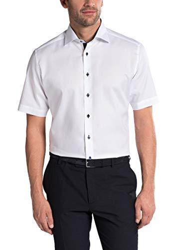 eterna Kurzarm Hemd MODERN FIT Pinpoint unifarben, Weiß, W42, Länge Kurzarm