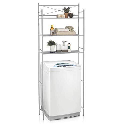 CARO-Möbel Waschmaschinenregal MARSA Toilettenregal mit 3 Ablagen Badezimmerregal Bad WC Stand Regal in grau