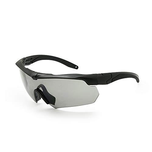 EnzoDate Ballistische Militär-Schutzbrillen 3LS, 4LS oder 5LS Kit, polarisiert Armee Sonnenbrille Herren Taktische Augenklappe (Schwarz, 5 Linsen (1 Übergang aus 5))