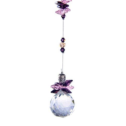 HampD 30 mm Crystal Hanging Suncatcher Ball Prism Home Wedding Decoration Hand Crafts Purple