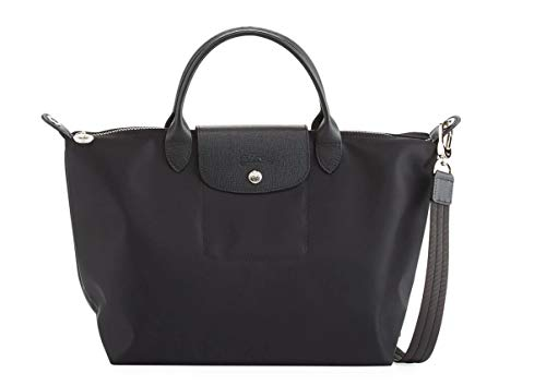Longchamp 'Medium Le Pliage Neo' Nylon Top Handle Tote Shoulder Bag, Black