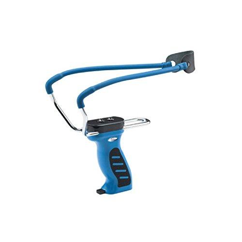 Profi-Steinschleuder Modell Big mit Kugelspender Blau + Ersatzgummi + 500 Stahlkugeln (Modell Big blau + 500 Stahlkugeln 8mm + Ersatzgummi)