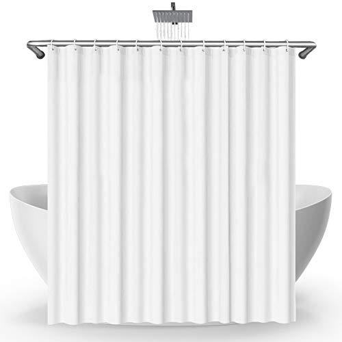 SeaFellows Duschvorhang 180x200cm Magnet-Set I wasserabweisend mit Anti-Schimmel-Beschichtung - antibakterieller Duschvorhang in weiß - mit jeweils 12 Befestigungsringen + 3 Magnete als Fallgewicht