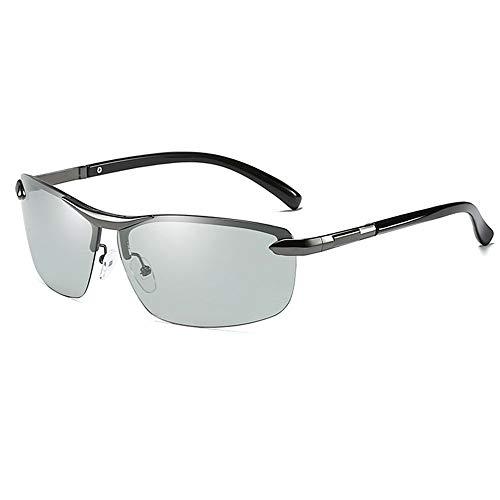 SWNN Sunglasses Las Gafas De Sol UV400 Antideslumbrantes UV400 De Metal del Medio Marco del Metal Cambian Las Gafas De Sol De Conducción De Los Hombres Grises/Negros (Color : Gray)