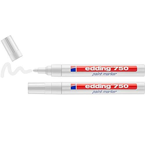 edding 750 Lackmarker - weiß - 2 Stifte - Rundspitze 2-4 mm - Lackstift zur Markierung und Beschriftung von Metall, Glas, Stein oder Kunststoff - hitzebeständig, permanent, wisch- und wasserfest