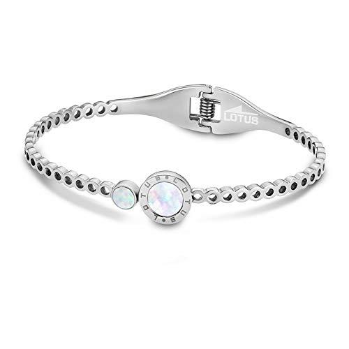 LOTUS Style Pulsera-brazalete para mujer, de acero inoxidable plateado, colección Trendy, JLS1790-2-1
