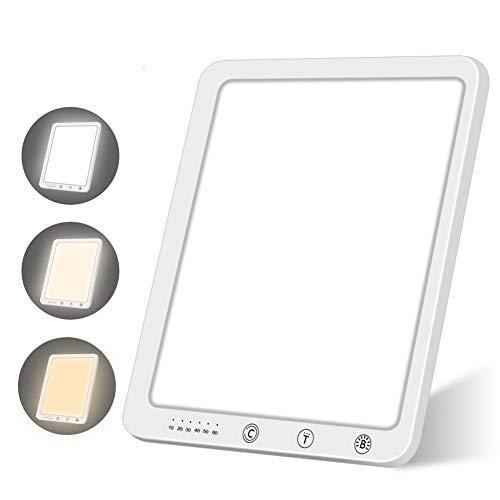 Tageslichtlampe 10000 Lux Simuliert Sonnenlicht UV-frei Lichttherapielampe mit Einstellbarer Helligkeit Farbtemperatur und Timer LED-Spektrum Lichtdusche für den Einsatz im Home Office