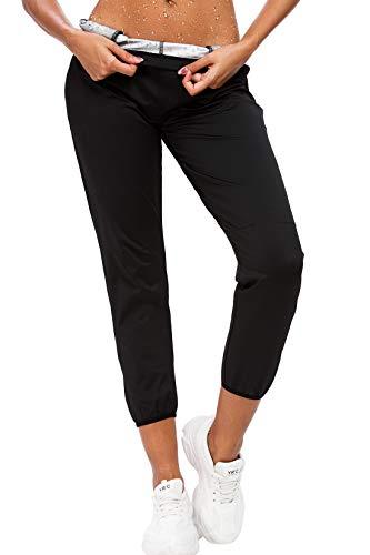 JMITHA Pantalón de Sudoración Adelgazar, Pantalones para Adelgazar, Adelgazar Hot Thermo Neopreno Sauna Body Shapers Pantalones para Deporte, Fitness (Pantalones02-Negro, M)