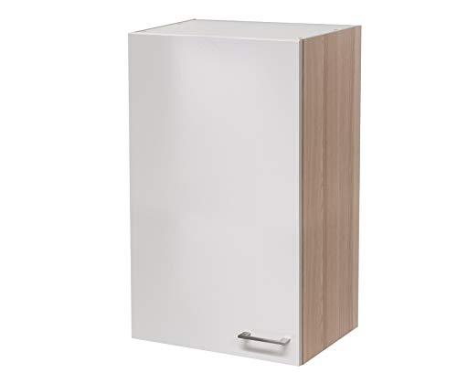 MMR Hängeschrank Küche DERRY, Küchenschrank, 1-türig, wechselseitig montierbare Tür, verstellbarer Einlegeboden, 60 cm breit, 89 cm höhe, Perlmutt Weiß