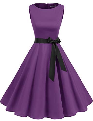 Gardenwed Damen 1950er Vintage Cocktailkleid Rockabilly Retro Schwingen Kleid Faltenrock Purple M