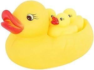 4 قطع من لعبة البط المطاطية للاطفال من هابي تويز، العاب للاستحمام على شكل بطة صفراء جميلة للاطفال