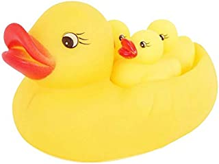 Happytoys 4pcs Baby Sounding Rubber Duck Toy Lovely Yellow Ducks Children Bath Toys