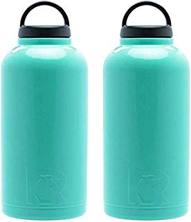 RTIC 64oz Bottle, Teal (PACK OF 2) Stainless Steel, Double Wall Vacuum insulated. Air Tight Seal/No Sweat Exterior/18/8 (Teal)