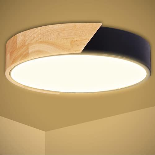 Kimjo 24W LED Deckenleuchte Holz, 2400LM 3000K Warmweiß Deckenlampe LED Modern Rund, Ø30cm *5cm Deckenlampe Flach Ultra-dünne Deckenleuchte Wohnzimmer, für Schlafzimmer Kinderzimmer Flur Küche Balkon