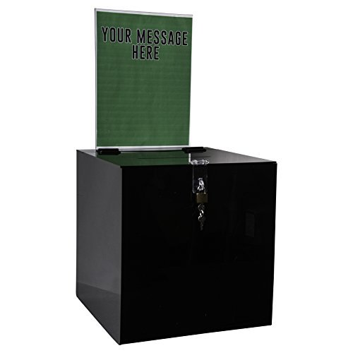 Clear-Ad - SBB-1212-H-BLK - Acrylic Donation Box with Lock and Sign Holder - Plastic Countertop Container for Voting, Charity, Ballot, Survey, Raffle, Contest, Suggestion, Tips, Comments (12x12 Black)