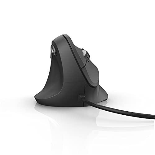 Hama | Ratón ergonómico para Zurdos con Cable. (ratón Vertical, 6 Botones y hasta 1800 dpi), Ratón para Zurdos ergonómico, Color Negro