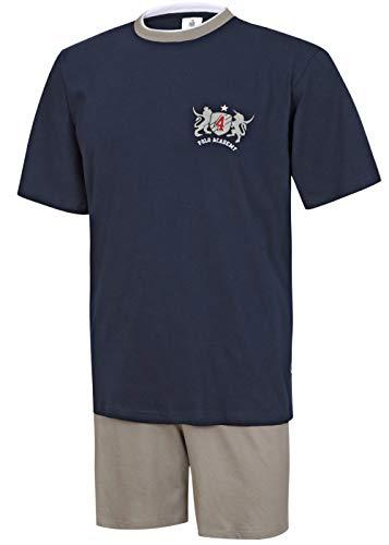 Herren Pyjama Schlafanzug kurz Herren Pyjama kurz Herren Shorty Schlafanzug aus 100% Baumwolle (XXL/58-60, Oberteil Marine/Hose Uni)
