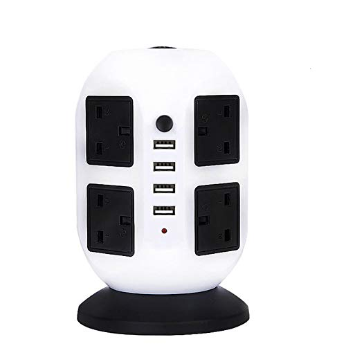 Tower Power Strip Vertical Plug Adapter Outlets 8 Way AC Multi Electrical Sockets with USB Surge Protector 2m Extension Cord