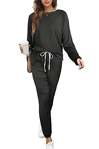Fall Outfits for Women Trendy 2021 Long Sleeve Workout Shirts Tracksuits Grey L