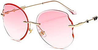 TYJYY Lunettes de soleil surdimensionnées pour femme ovales de mode vintage sans bords Cupidon Flèche Tir Coeur Jambes Lun...