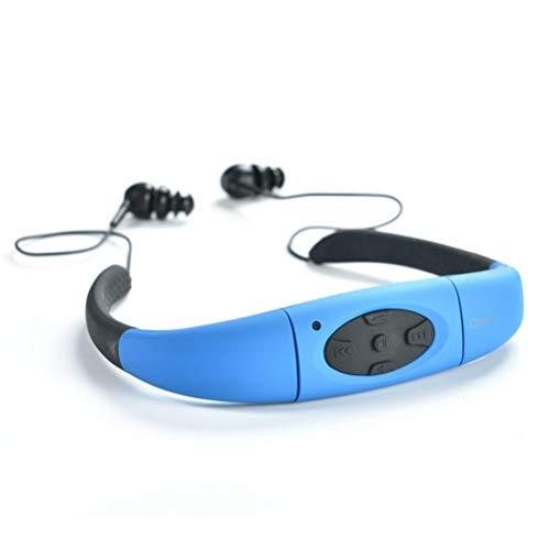 Hemobllo MP3 Player Headset Waterproof FM Radio Headphones Music Player for Swimming (Blue)
