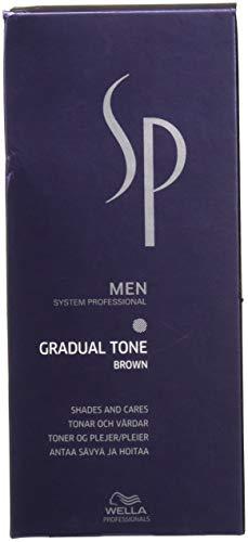 Wella Men System Professional - Tintura per capelli Gradual Tone (colore marrone) con shampoo e pettine applicatore