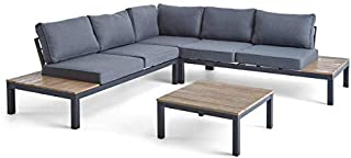 Great Deal Furniture Leo Outdoor Aluminum and Wood V-Shaped Sofa Set with Cushions, Gray and Light Gray