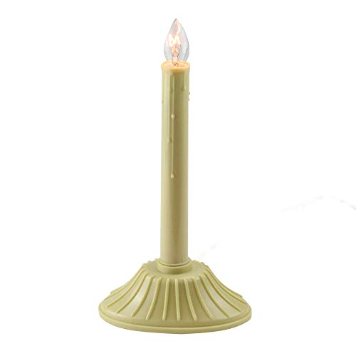 9.5' Single Yellow Ivory Candolier Christmas Indoor Candle Lamp - Clear C7 Light