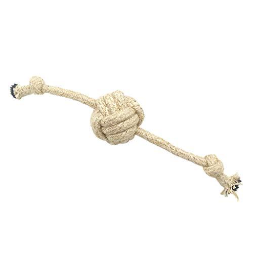 Yowablo Haustier Hund kaut Baumwolle Seil Knoten Ball Zähneknirschen Odontoprisis Spielzeug (36cm,Beige)