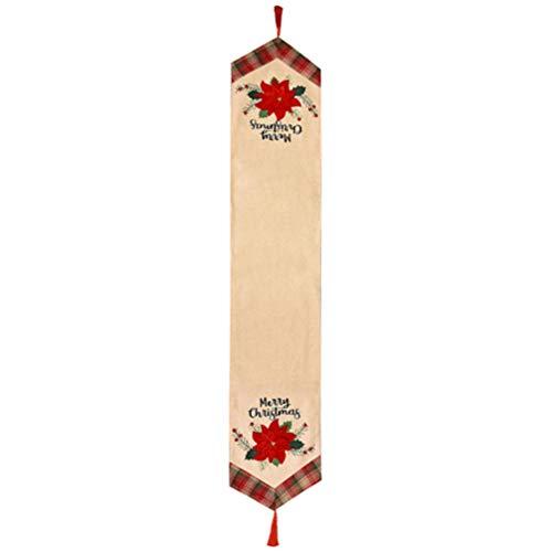 Hemoton - Camino de mesa de lino con borlas bordadas, diseño de estrella de Navidad, decoración para fiestas de Navidad, 34 x 185 cm