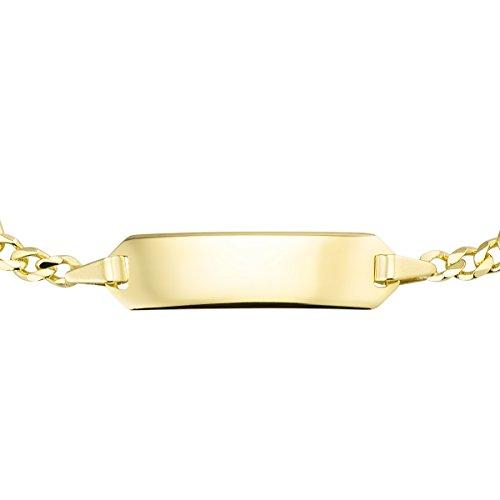 MATERIA Mädchen Baby Armband mit Gravur 333 Gold Armkette Kinder Schmuck 12-14cm Made in Germany #GA-1, Schrifttyp:Ohne Gravur