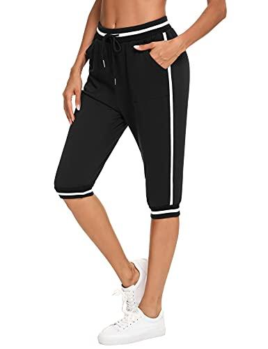 Doaraha Pantalones Pirata de Running Mujer, 3/4 Pantalones Deporte Casual Mujer, Pantalón Capri Pants Deportivos, Capri Mujer Verano Algodón, Pantalones de Chándal a Rayas Mujer, Negro, L