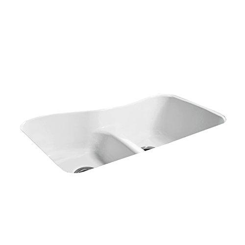 "CECO Sinks-Windansea 776-UM-LD Offset Low Damn Undermount Double Bowl Cast Iron Kitchen Sink 33"" X 22"" X 9.75"", White"
