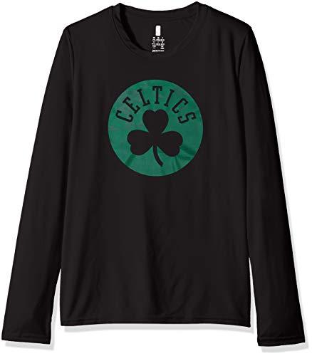 NBA by Outerstuff NBA Kids & Youth Boys Boston Celtics 'Defensive' Long Sleeve Dri Tek Tee, Black, Youth Medium(10-12)