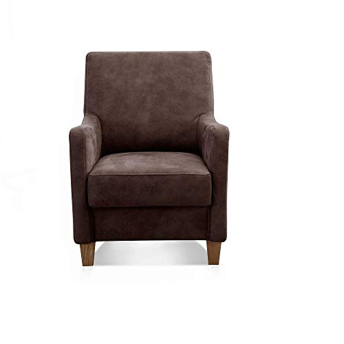 Cavadore Sessel Delo mit Federkern / Bequemer Polstersessel im modernen Design / 70 x 93 x 76 / dunkelbraun