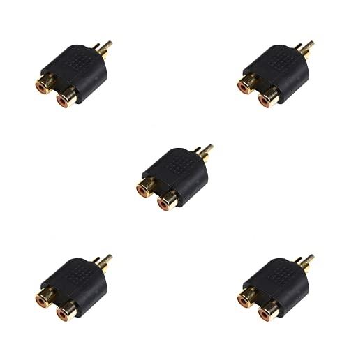 BRIEFCEC Adaptador de audio RCA (1 macho a 2 hembra, 5 unidades), color dorado