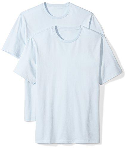 Amazon Essentials 2-Pack Regular-Fit Short-Sleeve Crewneck T-Shirt, Light Blue, L