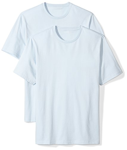 Amazon Essentials Men's 2-Pack Loose-Fit Short-Sleeve Crewneck T-Shirt, light blue, Medium