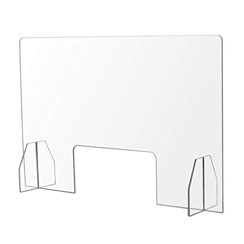 Protective Sneeze Guard for Counter and Desk - Freestanding Clear Acrylic Shield for Business and Customer Safety, Portable Plexiglass Barrier, Food Screen (24''x16'')