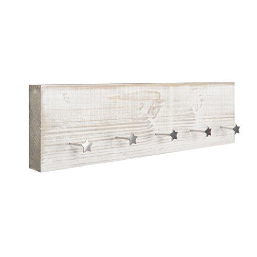 Schlüsselbrett Vintage Fichte weiß mit 5 Motivnägeln Stern Schlüsselboard Schlüsselhalter Schlüsselleiste Schlüsselanhänger Schlüssel Holz Schlüsselkasten Regalbrett Regal Made in Germany