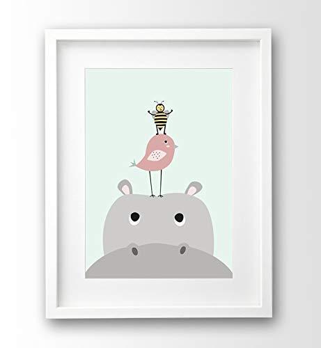 Kinderzimmer Bild Nilpferd und Freunde, A4 Poster Tiere ohne Rahmen, pastellfarben Babyzimmer Deko