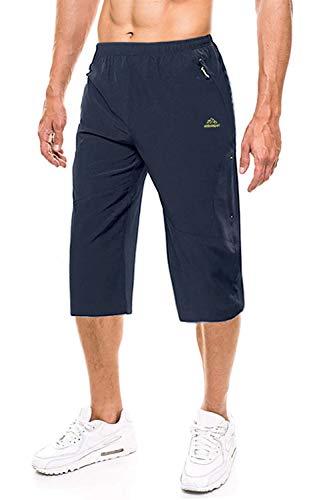 EKLENTSON Herren 3/4 Running Laufhose Leichte Atmungsaktiv Schnelltrocknende Sporthose, Navy