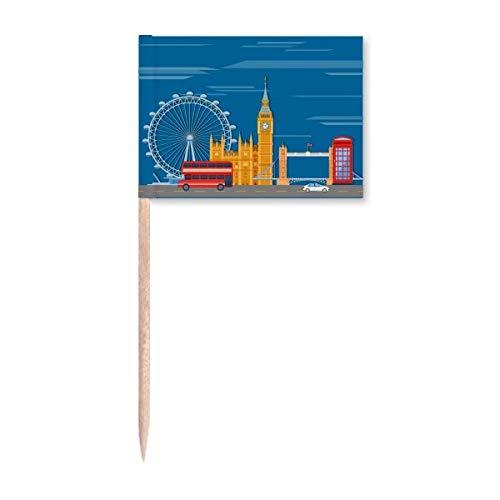 London Eye Doppeldecker Busse Graffiti Zahnstocher Flaggen Marker Topper Party Dekoration