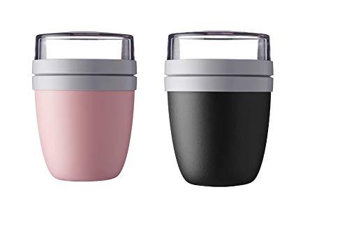 Mepal Lunchpot Ellipse 2-er Set Lunchbox Essensbehälter Reisebecher (Black and Pink)