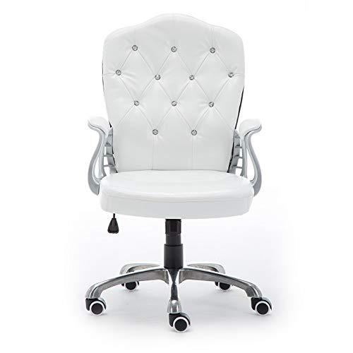 Esszimmer Küchenstühle Verstellbarer Bürostuhl PU-Leder Computer Stuhl Gepolsterter Schreibtisch Komfort Mit Sessel Rückenlehne Stuhl,White