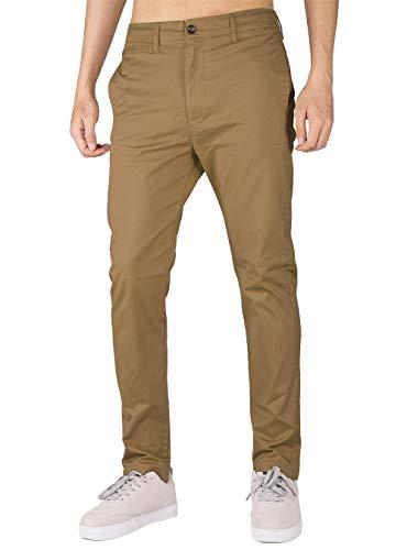 THE AWOKEN Hombre Chino Casual Pantalón Business Wear Slim Fit (30, Marrón)