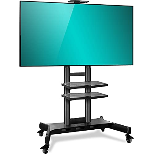 ONKRON Carro TV Soporte Móvil de Piso Pantallas LCD, LED, QLED de 55' - 80' de hasta 90,9 kg - TS18-81 Pie TV, Base TV